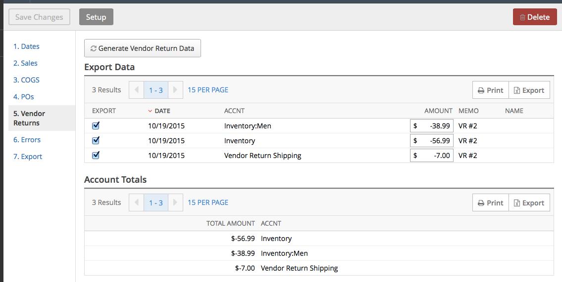 Exporting vendor return data to QuickBooks Desktop